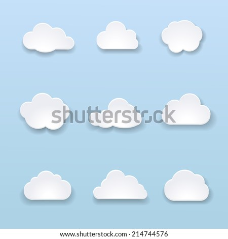 Abstract shape of clouds on blue background.  illustration