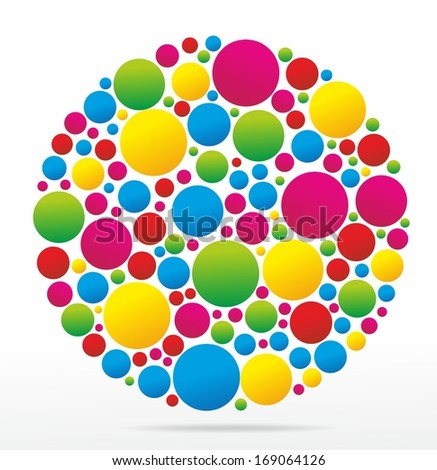 abstract shape with colorful circles for decoration