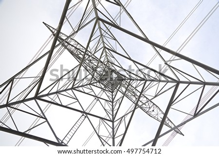 abstract shapes of an electricity pylon from underneath