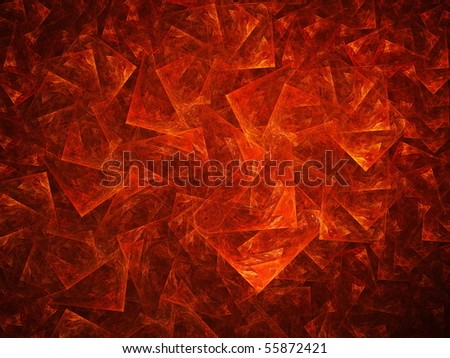 Abstract shattered red glass on a dark background - stock photo