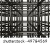 Abstract shining chrome metal girder structure. Conceptual 3D illustration. - stock photo