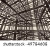 Abstract shining chrome metal girder structure. Conceptual 3D illustration - stock photo