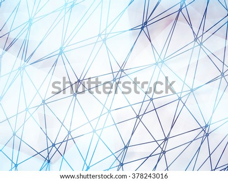 Abstract shining 3d digital molecular mesh structure over colorful polygonal background