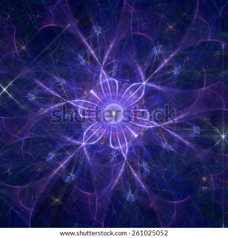 Abstract shining high resolution fractal background with a detailed abstract flower with six petals in the middle, all in pink and purple