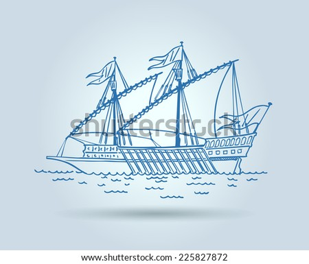 Abstract ship, stylization, Raster version