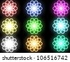 Abstract shone flowers on a black background - stock photo