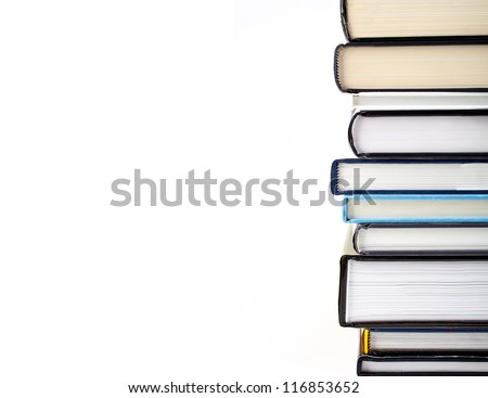 Abstract shot of a pile of Books over a white background. - stock photo