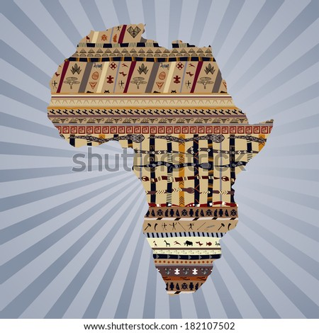 Abstract silhouette of Africa with traditional paintings - stock photo