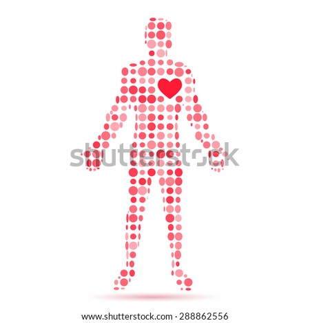Abstract silhouette of man figure with heart symbol. - stock photo