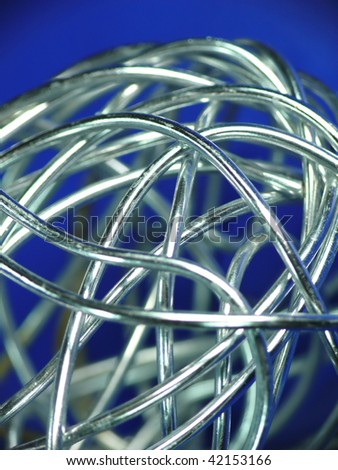 abstract silver wire on blue background