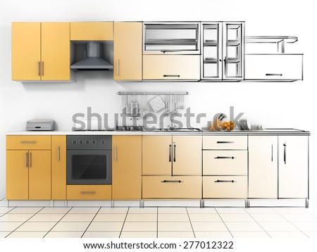 Abstract sketch design of interior kitchen. Wireframe render.