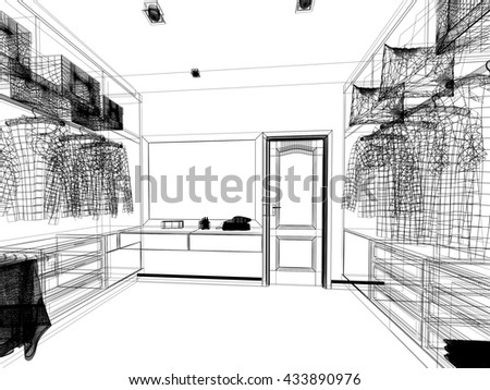 Abstract Sketch Design Of Interior Walk In Closet 3d Rendering