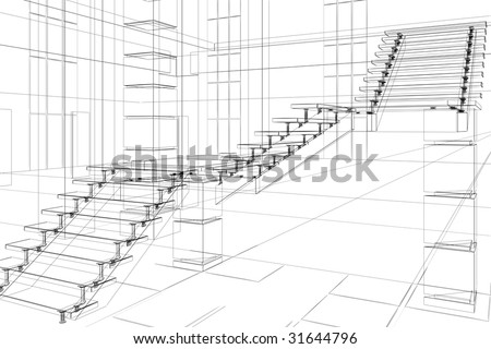 Abstract sketch of office design - stock photo