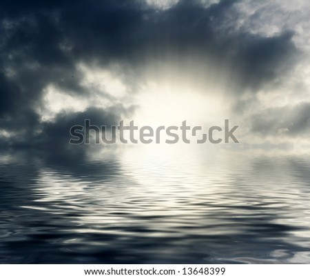 Abstract sky and clouds reflected on water