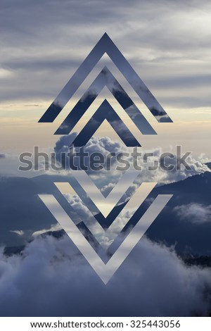 abstract sky geometric background with polygons, mountains and cumulus clouds, polygonal cloudscape backdrop, op art, altitude. reality is an illusion - stock photo
