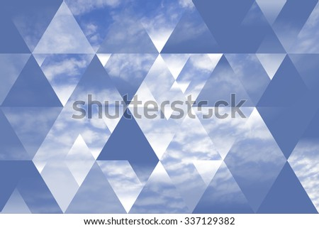 abstract sky geometric background with polygons, triangles and cumulus clouds,  polygonal cloudscape backdrop, op art, altitude. reality is an illusion.  - stock photo