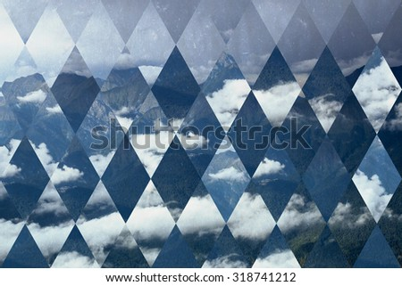 abstract sky geometric background with rhombus, mountains and cumulus clouds, polygonal cloudscape backdrop, op art, altitude. reality is an illusion. With old paper texture - stock photo