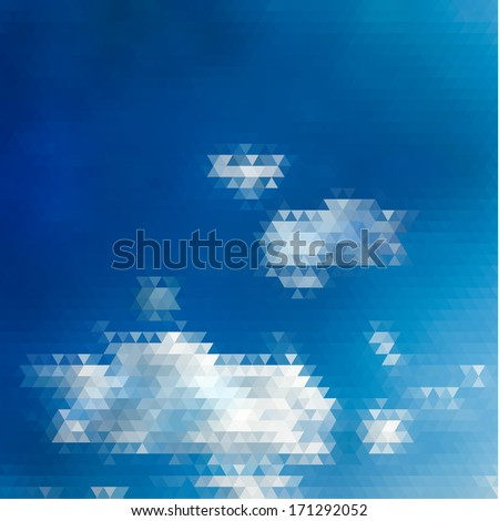 Abstract sky illustration with triangular pattern  - raster version - stock photo