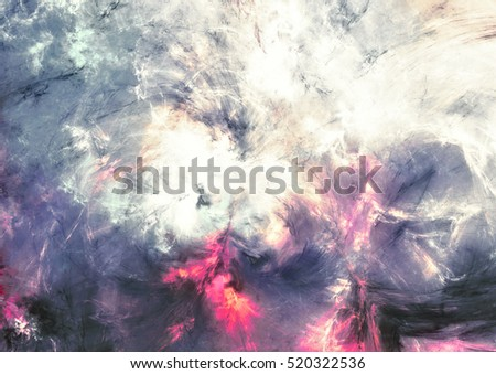 Abstract sky with shiny color clouds. Fantastic bright pattern with lighting effect. Beautiful futuristic painting background. Fractal artwork for creative graphic design
