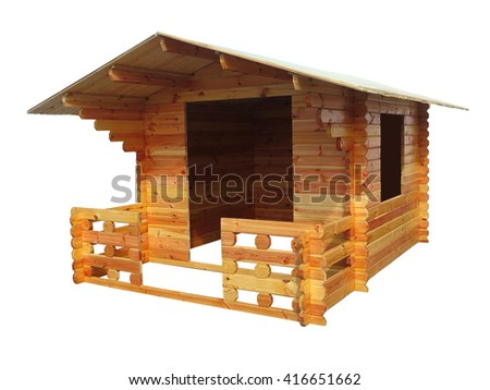 Abstract small wooden house concept isolated over white background