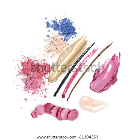Abstract smeared cosmetics and makeup on white background - stock photo