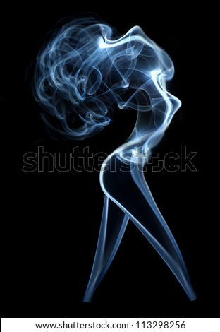 Abstract smoke beautiful woman isolated on black - stock photo