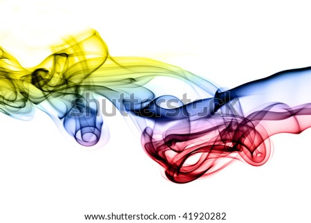 Abstract smoke shapes colored with gradient over white background