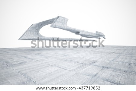 Abstract smooth concrete future interior with circular light. Architectural background. 3D illustration. 3D rendering