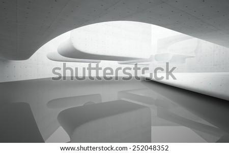 Abstract smooth interior concrete - stock photo