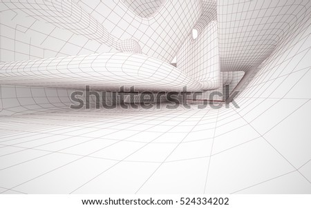 Abstract smooth white interior of the future. Polygon red drawing. Architectural background. 3D illustration and rendering