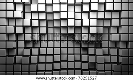 abstract smooth white metallic cubes as background 3d