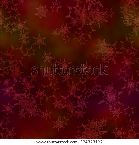 Abstract snowflakes on dark red background.  Seamless illustration.