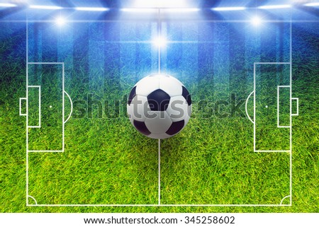 Abstract soccer background - soccer ball, soccer field layout, bright stadium spotlights - stock photo