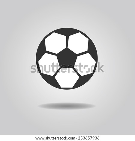 Abstract soccer ball icon with dropped shadow on gray gradient background - stock photo