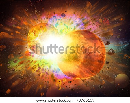 abstract space fantasy - collision of two planets - stock photo