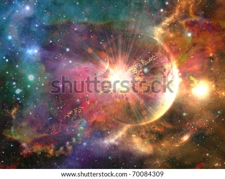 Abstract space fantasy illustration - stock photo