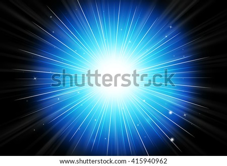 Abstract sparkles rays light explosion dark blue background/texture.
