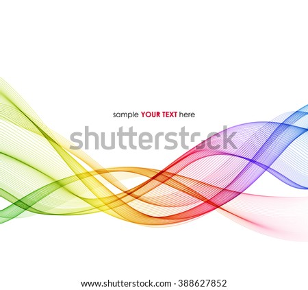 Abstract spectrum curved lines background. Template brochure design. Rainbow smoke wave