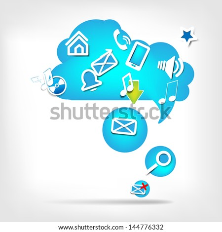 Abstract speech bubble with web icons - stock photo