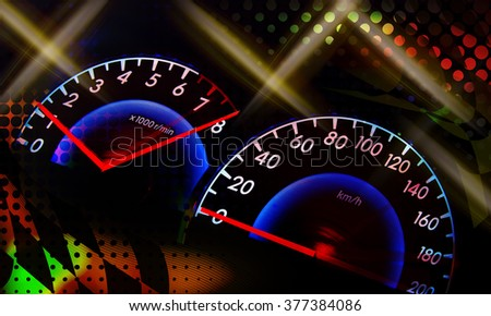 abstract speed racing background with speedometer