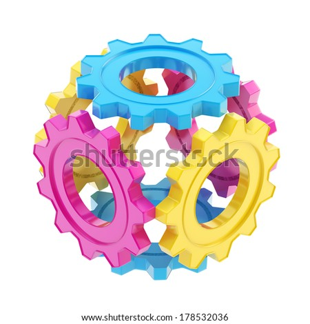 Abstract sphere object made of cmyk colored cogwheel gears isolated over white background - stock photo