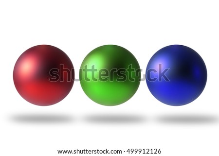 Abstract spheres with matte surface, on white background.