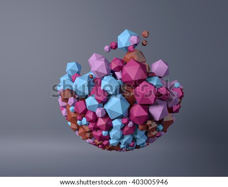 abstract spherical object particles, 3d illustration - stock photo