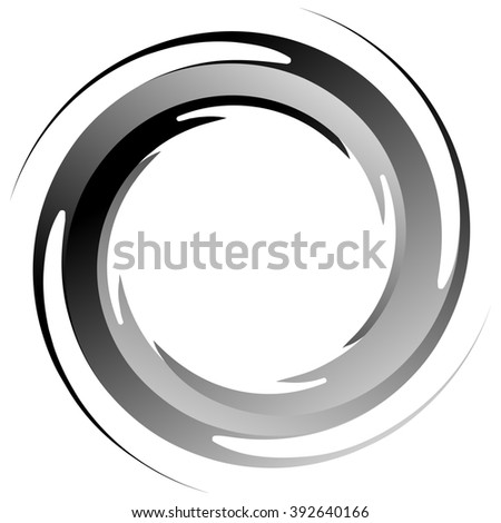 Abstract spiral graphics in black and white. - stock photo