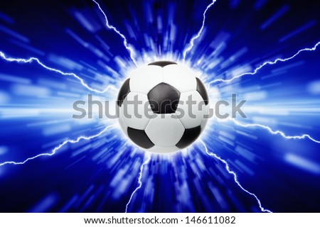Abstract sports background - soccer ball, bright lights and lightnings - stock photo