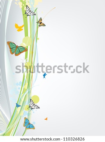 abstract spring background with butterfly - stock photo