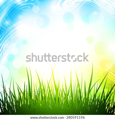 Abstract Spring Background With Green Grass and Copyspace - stock photo