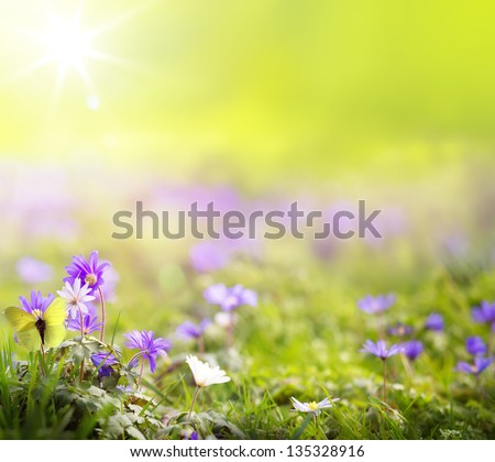 abstract spring green background - stock photo