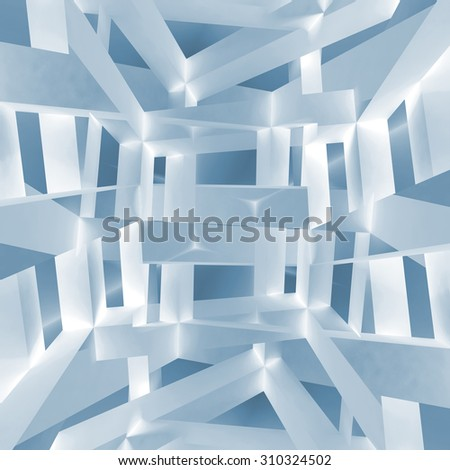 Abstract square background pattern based on a 3d illustration of chaotic braced constructions - stock photo
