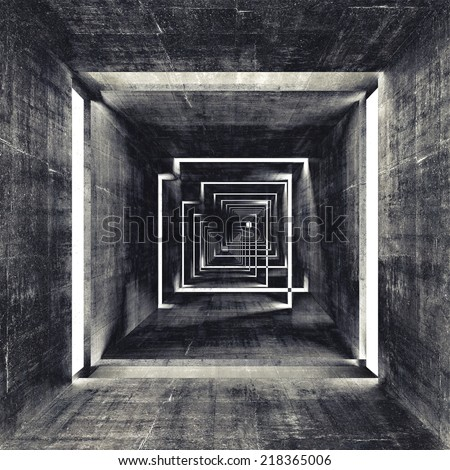 Abstract square dark concrete tunnel interior, 3d render background - stock photo